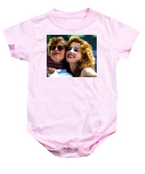 Susan Sarandon And Geena Davies Alias Thelma And Louis - Watercolor Baby Onesie