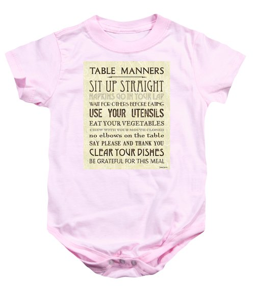 Table Manners 2 Baby Onesie