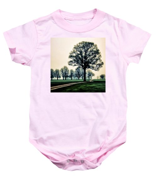 Tree At Dawn On Golf Course Baby Onesie