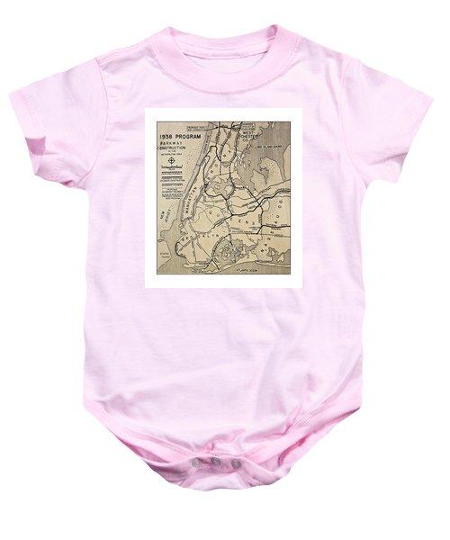 Vintage Newspaper Map Baby Onesie