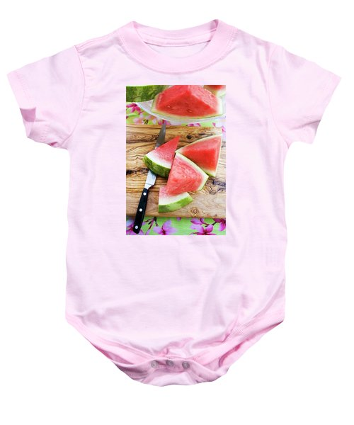 Wedges Of Watermelon And Knife On A Wooden Board Baby Onesie