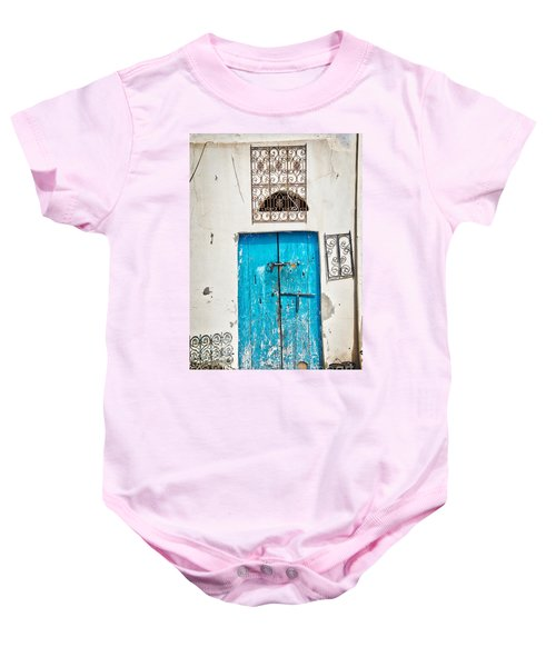 White And Blue Baby Onesie