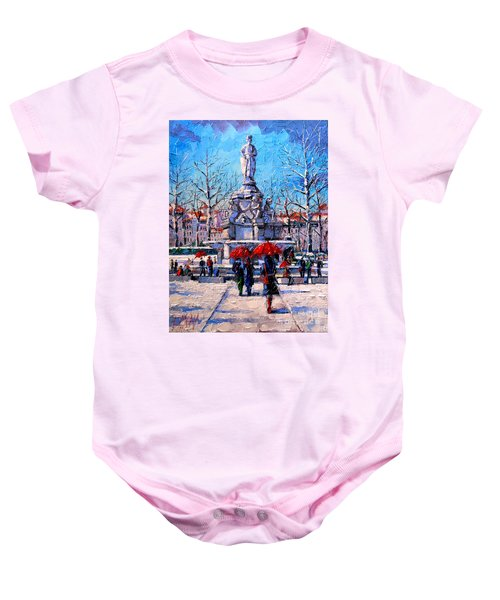 Winter City Scene - The Square  Marshal Lyautey In Lyon - France Baby Onesie