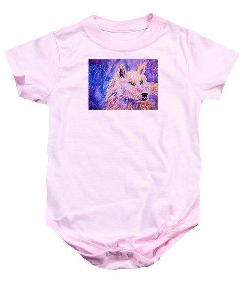 Wolf  - White Wolf  - Aurora Nights Baby Onesie
