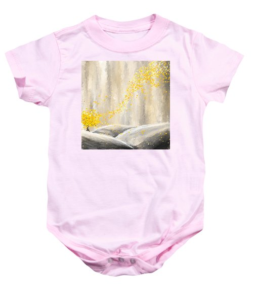 Yellow And Gray Landscape Baby Onesie