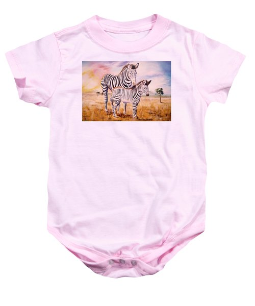 Zebra And Foal Baby Onesie