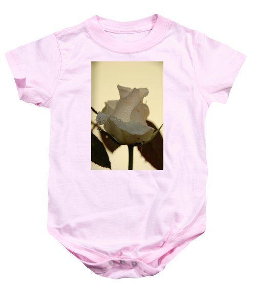A Single White Rose Baby Onesie