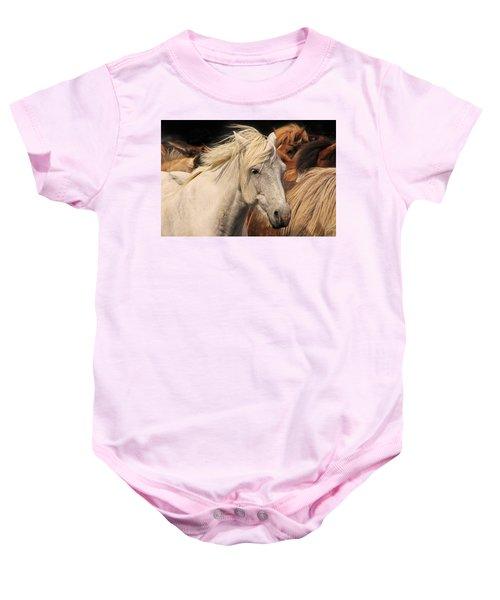 White Icelandic Horse Baby Onesie