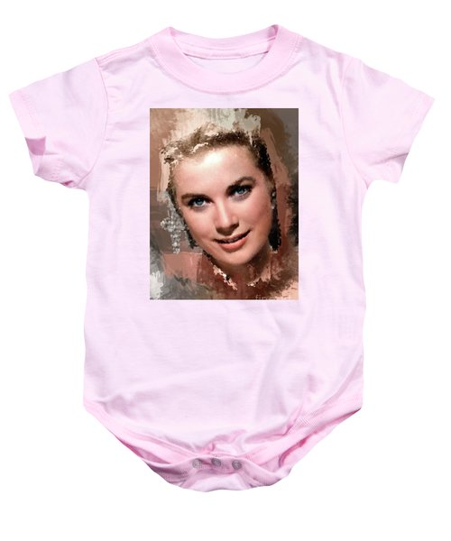 Grace Kelly, Vintage Hollywood Actress Baby Onesie by Mary Bassett