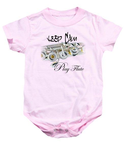 Keep Calm Play Flute  Baby Onesie