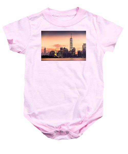 Lower Manhattan And The Statue Of Liberty At Sunrise Baby Onesie