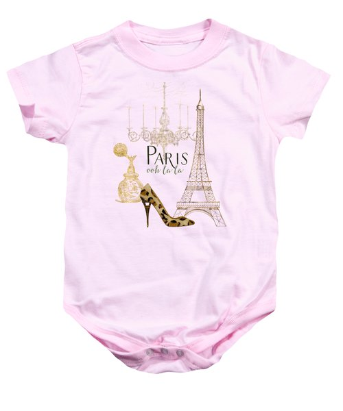 Paris - Ooh La La Fashion Eiffel Tower Chandelier Perfume Bottle Baby Onesie by Audrey Jeanne Roberts