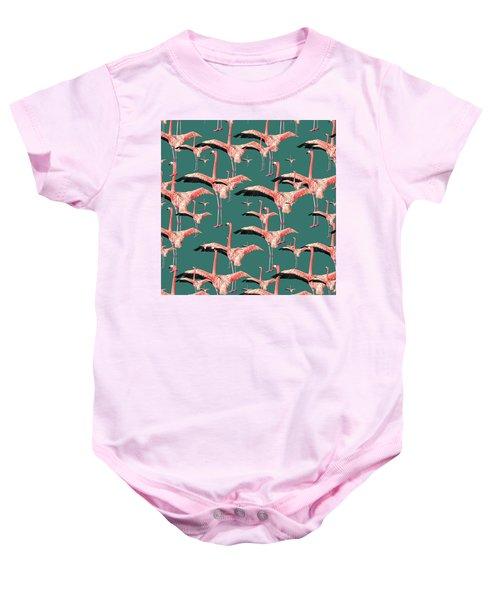 Tropical Flamingo  Baby Onesie
