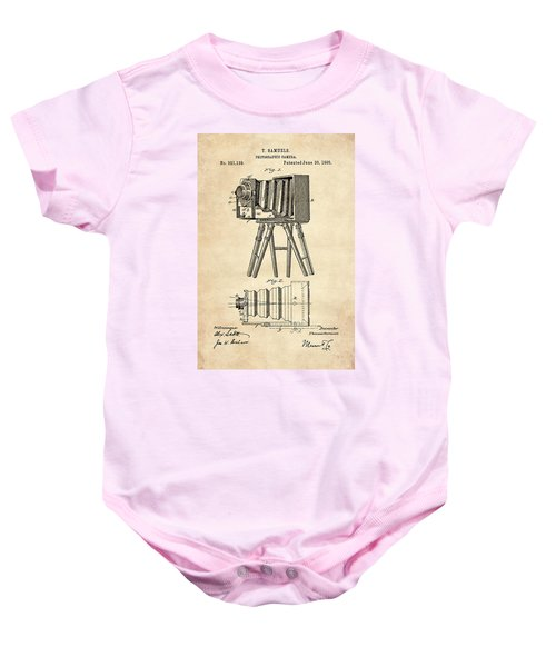 1885 Camera Us Patent Invention Drawing - Vintage Tan Baby Onesie