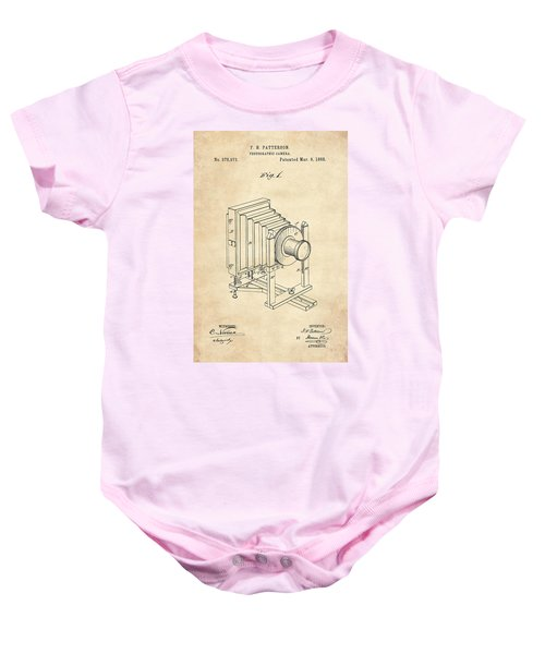 1888 Camera Us Patent Invention Drawing - Vintage Tan Baby Onesie