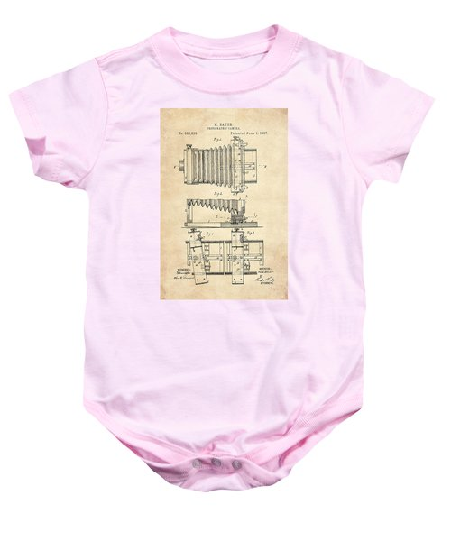 1897 Camera Us Patent Invention Drawing - Vintage Tan Baby Onesie