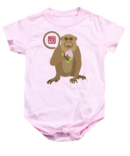 2016 Chinese Year Of The Monkey With Peach Baby Onesie by Jit Lim
