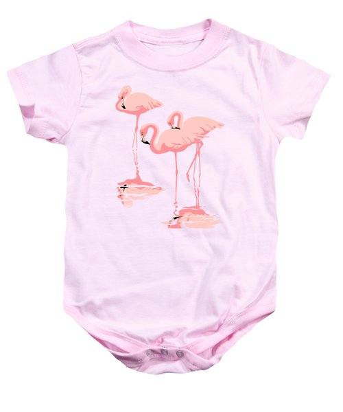 3 Pink Flamingos Abstract Pop Art Nouveau Graphic Art Retro Stylized Florida Baby Onesie by Walt Curlee