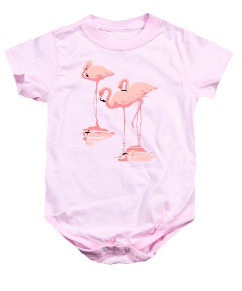 3 Pink Flamingos Abstract Pop Art Nouveau Graphic Art Retro Stylized Florida Baby Onesie