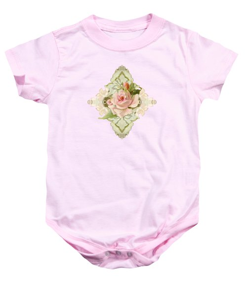 Summer At The Cottage - Vintage Style Damask Roses Baby Onesie
