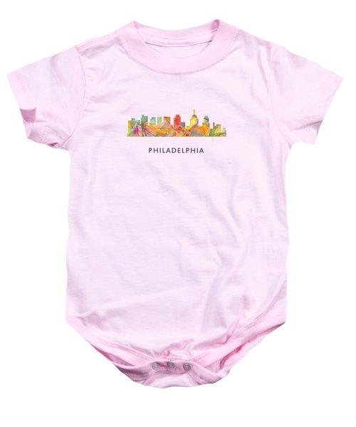 Philadelphia Pennsylvania Skyline Baby Onesie by Marlene Watson