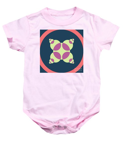 Abstract Mandala Pink, Dark Blue And Cyan Pattern For Home Decoration Baby Onesie