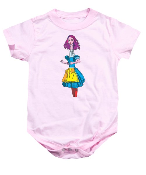 Alice In Wonderland - Ask Alice - Psychedelic Alice Baby Onesie by Paul Telling