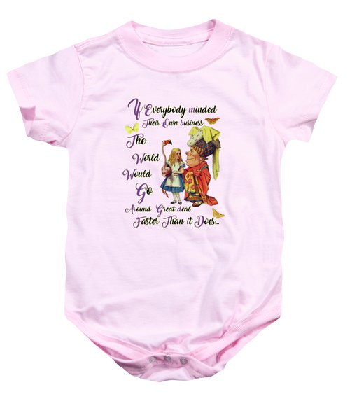 Alice With The Duchess Vintage Dictionary Art Baby Onesie by Jacob Kuch