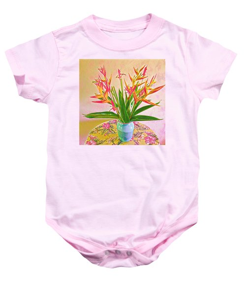 Aloha Bouquet Of The Day Halyconia And Birds In Pink Baby Onesie