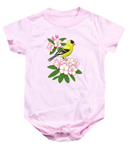 American Goldfinch And Coast Rhododendron Baby Onesie