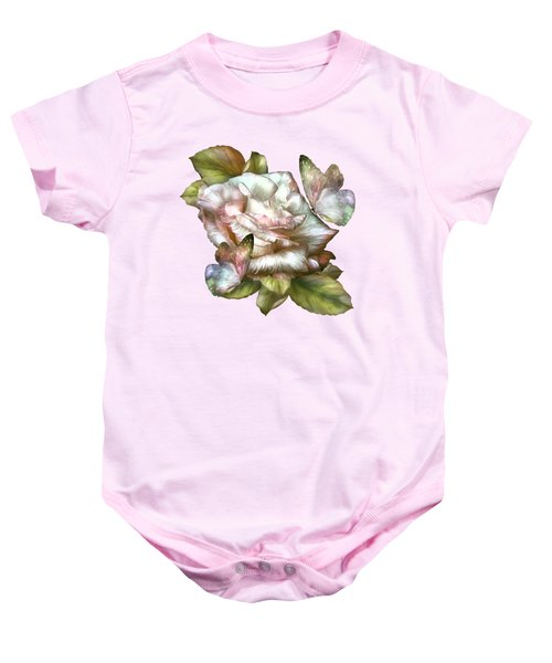 Antique Rose And Butterflies Baby Onesie