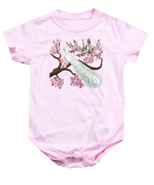 Cherry Blossom Peacock Baby Onesie by Glenn Holbrook