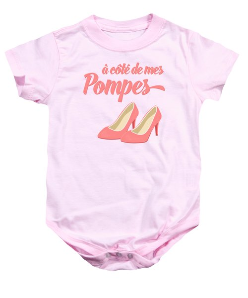 Pink High Heels French Saying Baby Onesie by Antique Images