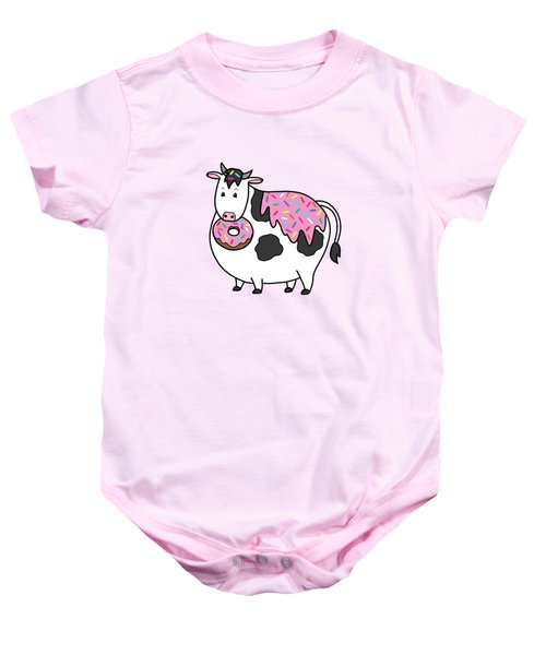 Funny Fat Holstein Cow Sprinkle Doughnut Baby Onesie by Crista Forest
