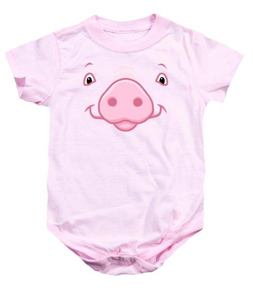 Cute Happy Pink Pig Big Face Baby Onesie