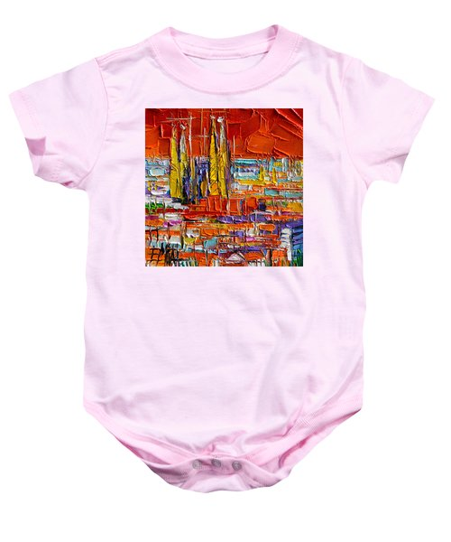 Barcelona Sagrada Familia View From Parc Guell Abstract Palette Knife Oil Painting Baby Onesie
