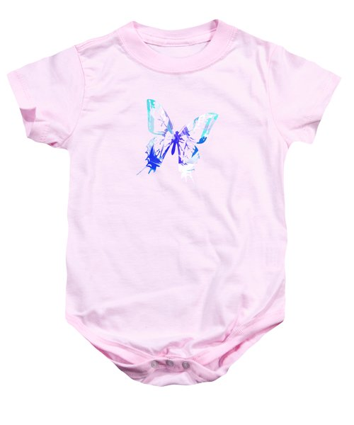 Blue Abstract Paint Pattern Baby Onesie