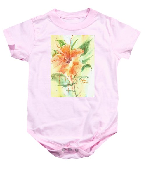 Bright Orange Flower Baby Onesie