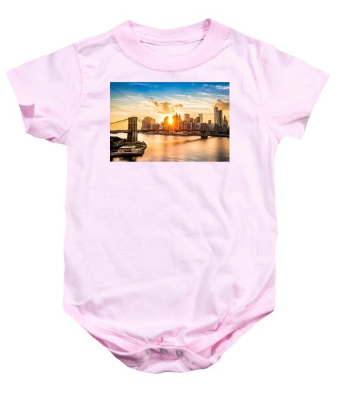 Brooklyn Bridge And The Lower Manhattan Skyline At Sunset Baby Onesie