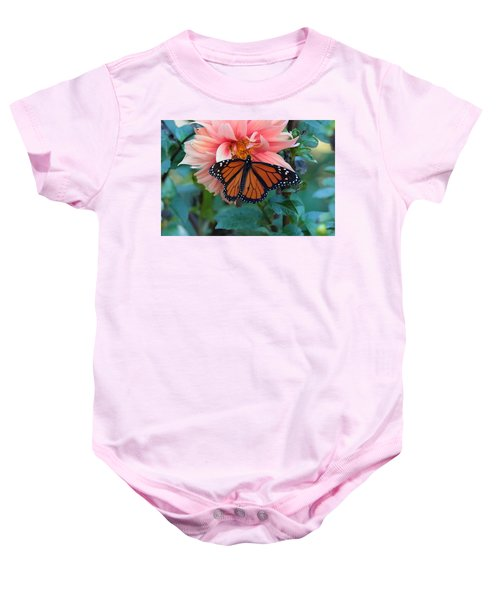 Butterfly On Dahlia Baby Onesie