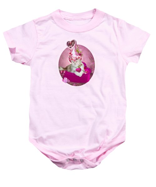 Cat In Valentine Candy Hat Baby Onesie