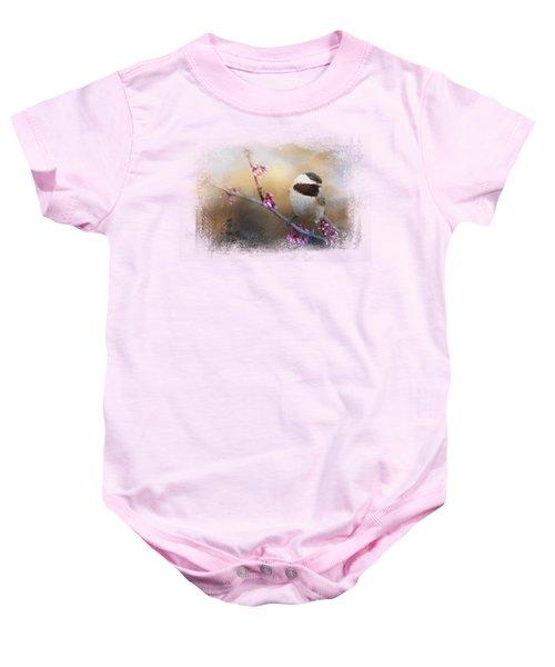 Chickadee And Pink Blooms Baby Onesie by Jai Johnson