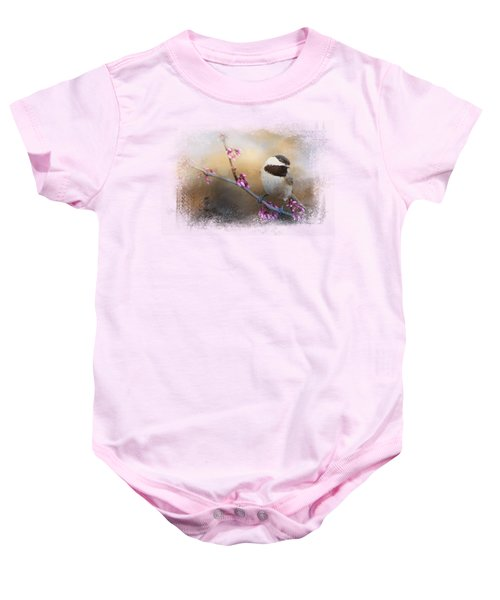 Chickadee And Pink Blooms Baby Onesie