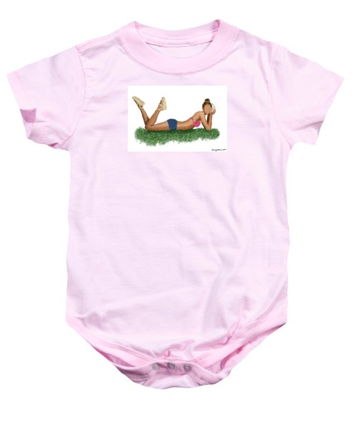 Baby Onesie featuring the digital art Chloe by Nancy Levan