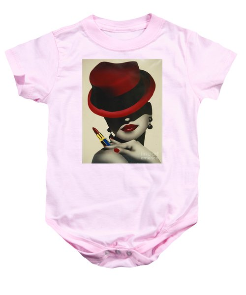 Christion Dior Red Hat Lady Baby Onesie