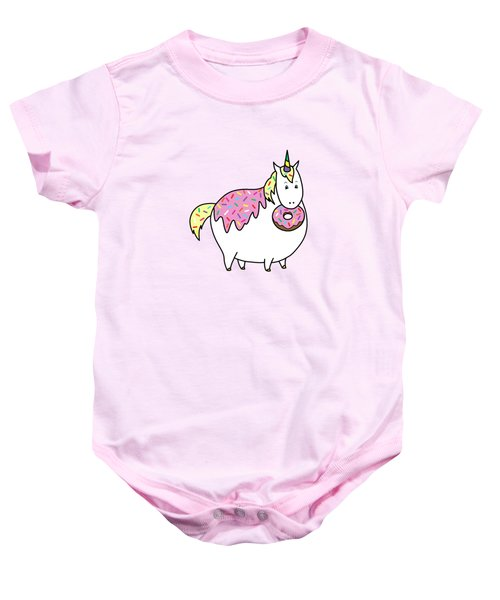 Chubby Unicorn Eating Sprinkle Doughnut Baby Onesie by Crista Forest