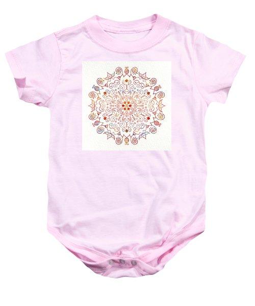 Colorful Mandala On Watercolor Paper Baby Onesie