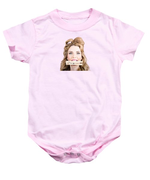 Comical Pinup Girl With Big Laundry Peg In Mouth Baby Onesie