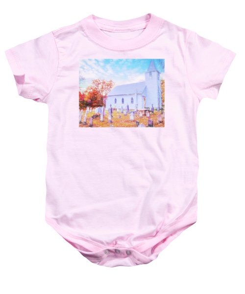 Country White Church And Old Cemetery. Baby Onesie