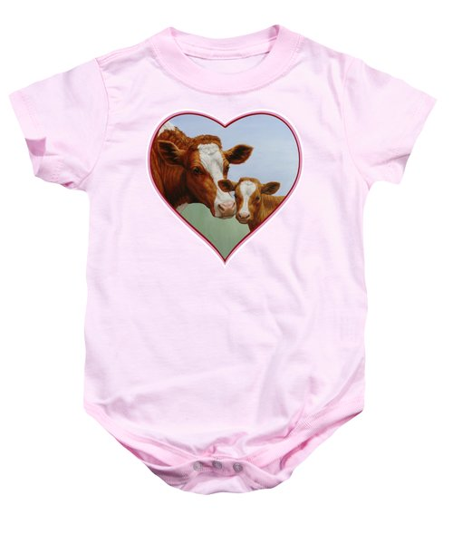 Cow And Calf Pink Heart Baby Onesie by Crista Forest